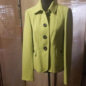 Chartreuse Thick Blazer with Black Buttons